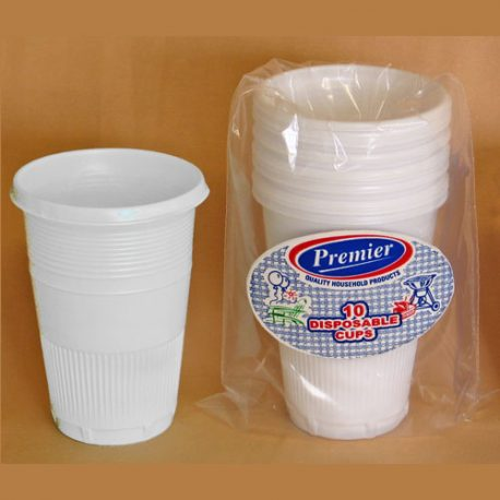 PLASTIC DISPOSABLE CUPS - WHITE - 300 ml