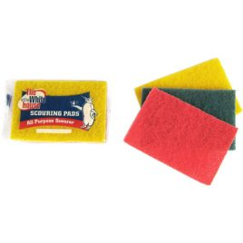 SCOURING PADS ASSORTED COLOURS - 3 PACK AND BULK - PRODUCT CODE 8815