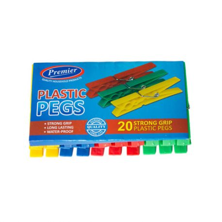 PLASTIC CLOTHES PEGS - 20 PACK - assorted colours - Product Code 197-20